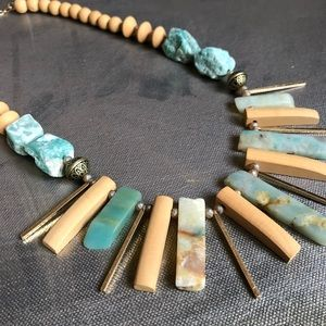 Gemstone Fringe Statement Necklace Blue Amazonite